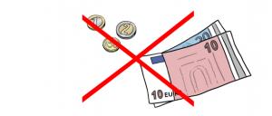 Das-ist-kostenlos-kostet-kein-Geld- Das Bild zeigt durchgestrichene Geldscheine-und-Muentzen
