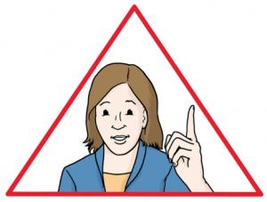 Eine-Frau-mit-Zeigefinger-im-roten-Dreieck---Bitte-beachten-Sie