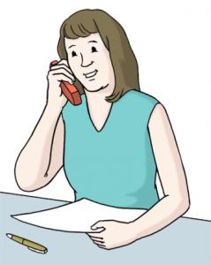Eine-freundliche-Frau-am-Telefon