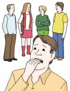 Vielen-Menschen-stehen-zusammen-zwei-Frauen-und-zwei-Maenner-und-ein-Mann-hat-Angst