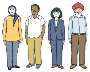 Vier-Menschen-aus-unterschiedlichen-Laendern-und-Kulturen